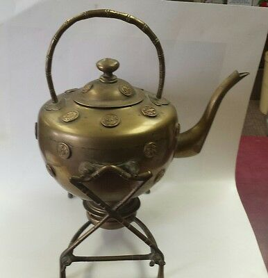 Vintage Brass Teapot Chinese Stand Burner Coin Shapes China