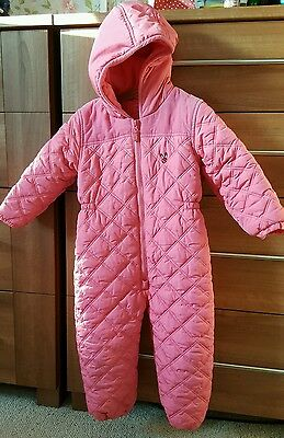 NEXT PINK QUILTED SNOWSUIT 3-4 years