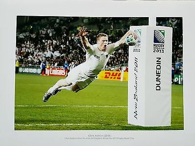 ENGLAND & SARACENS RUGBY UNION CHRIS ASHTON PRINT PICTURE A4 size 2011 world cup