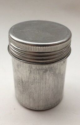 Vintage small metal tube container with screw-top lid - 5cm tall