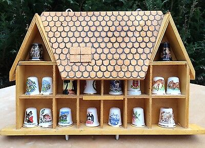 VINTAGE WOODEN DISPLAY HOUSE  Wall Mounted Thimbles 14 Apertures - Thimbles Inc