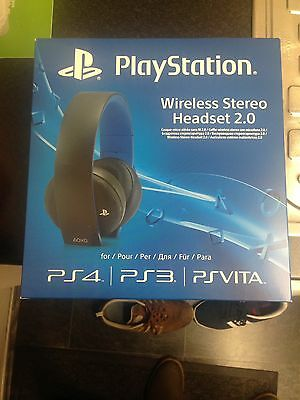 Official Sony PlayStation PS4 BLACK Wireless Stereo Headset 2.0 * BRAND NEW*