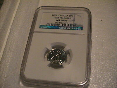 2014 Ngc Ms 68 Pl First Releases Canada Dime ~ Proof - Like ~ Nice Coin ~