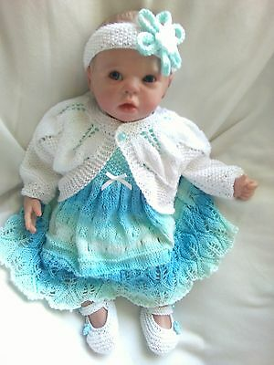 "Beautiful delicate cotton 4 piece dress set 20-22"" reborn doll or newborn  baby"
