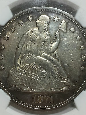 1871 NGC AU-55 Seated Liberty Silver Dollar