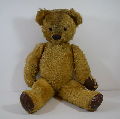 Unusual Vintage Jointed Teddy Bear With Movable Jaw / Mouth. 22 Inches