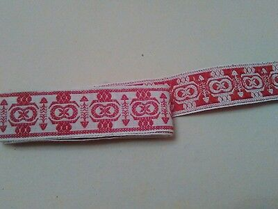vintage tape lace border trimming  red white 80 inches long .....1 in wide