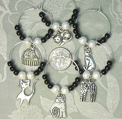 Set 6 Cat Lovers Kitten Black Glass Beads Wine Charms Markers = Rescue