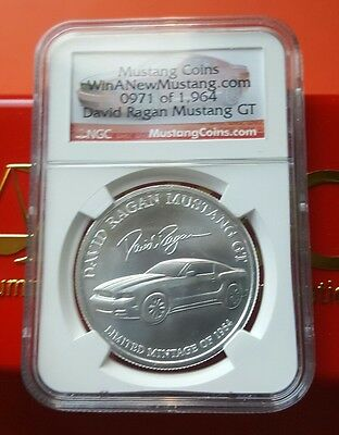 David Ragan Ford Mustang GT NGC Certified 1 Troy oz .999 Silver Round Coin #971