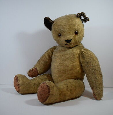 Vintage Jointed Teddy Bear With Glass Eyes. 24 Inches