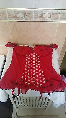 Ann Summers Roulette Red & Black  Suspender Cami Size 14 - 16 New Without  Tags