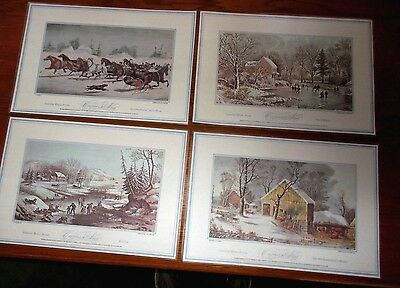 CURRIER & IVES 4 American Winter Scenes Vinyl Placemats Reversible