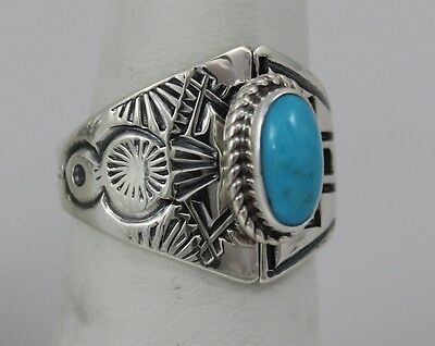 Navajo Indian Ring Sleeping Beauty Turquoise Size 9 Sterling Silver Laura Plumme