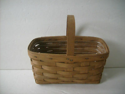 Longaberger Candle Basket W/ Plastic Protector 1984 Dark Stain