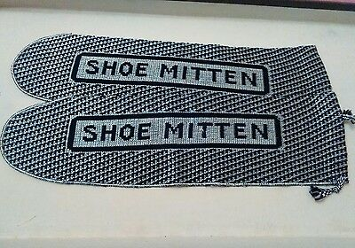 Vintage shoe shine mittens 1930s valet butler super unused curiosity cabinet