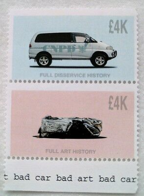 James,Jimmie Cauty Bad Art,Bad Car! Limited edition gummed perforated stamps 4k