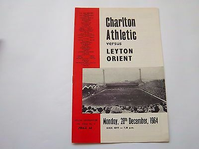 CHARLTON ATHLETIC v LEYTON ORIENT 1964/65  LEAGUE DIVISION 2  football programme