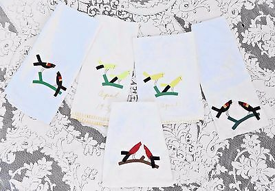 FIVE VINTAGE EARLY 1950's APPLIQUE & EMBROIDERY DISH TOWELS W BIRDS