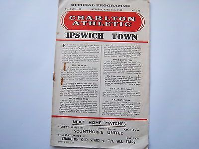 CHARLTON ATHLETIC v IPSWICH TOWN  1959/60  LEAGUE DIVISION 2  football programme