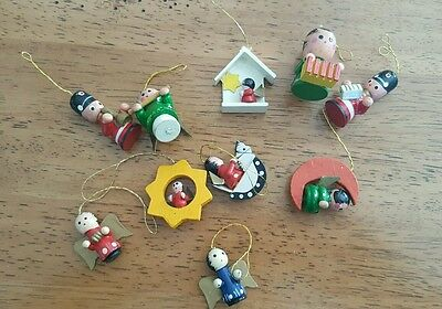 H48 Vintage 10 Small Wooden Christmas Ornaments Angels Soldiers