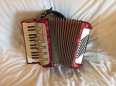 Lovely Red Hohner Concerto I 48 Bass Piano Accordion In Good playing condition