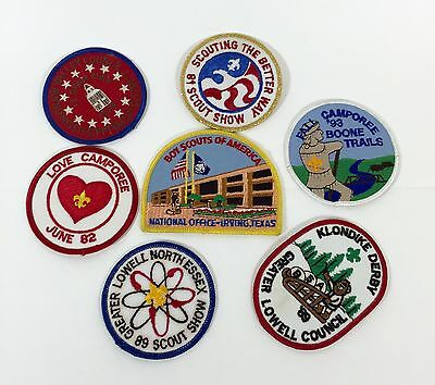 Vintage BSA BOY SCOUTS Camp Patches Lot of 7 Great Graphics