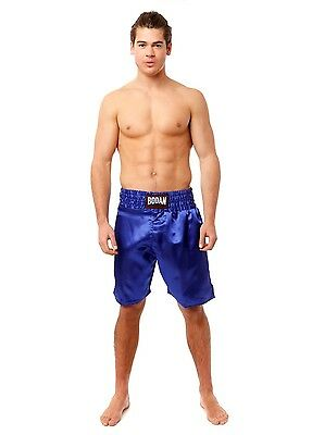 Bodan Boxing Shorts Blue Silky Adult Size XXL Mauy Thai Pants Kick Mens Gear Red