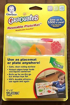 Gerber Graduates Silicone Reusable Platemat, 10 in x 15 in, New