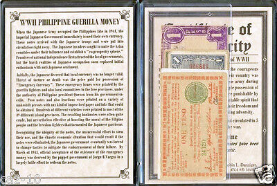 Five WWII Philippine Guerilla Printed Banknotes with album & COA