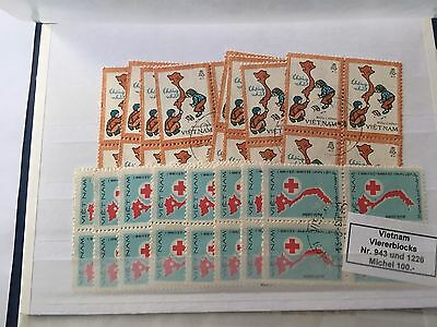 Asia Vietnam stamp blocks of 4 used cat 1412DM substantial value to resell