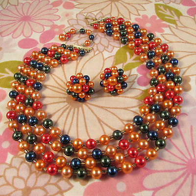 Vintage 1960s Four Strand Multi-Coloued Beaded Necklace & Clip Earrings Set