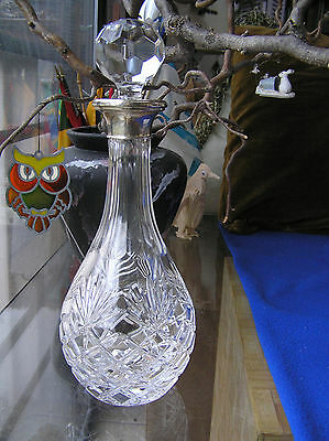 """Large and heavy English sterling silver and cut glass decanter 13"""""""