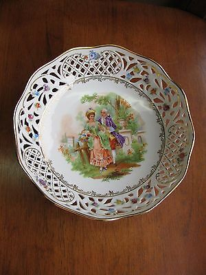 """PDCO Germany US Zone Victorian Scene Pierced Porcelain Bowl Signed 7 5/8"""""""