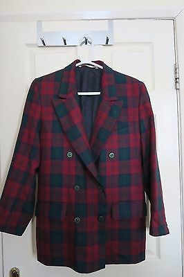 NWOT Mark & Spencer Vintage Red Green Blue Tartan Wool Jacket Blazer Size 12/14