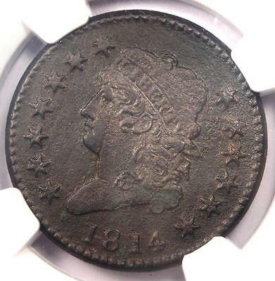 1814 Classic Liberty Large Cent (Crosslet 4) - NGC XF Detail (EF) - Rare Date !