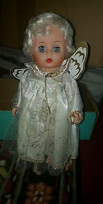 """VINTAGE UNEEDA 11"""" FULLY JOINTED VINYL Rubber TEEN ANGEL DOLL With Orig Box"""