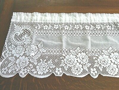 Heritage Lace White Floral Swag Drapes Valance Window Curtains Panel Home Decor