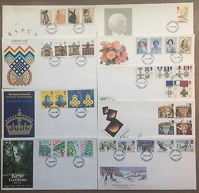 1990 First Day Covers, UK  (9no), Post STAMPS,Royal Mail