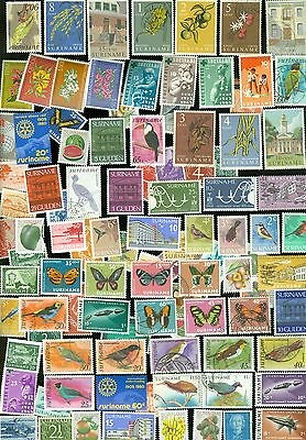 100 Different Stamps From Suriname