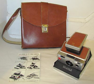 Original Polaroid SX-70 Folding Land Camera + Leather Case + Papers  -- TESTED