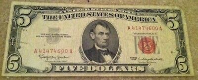 1963 $5 Five Dollar Red Seal US Note Bill US Currency