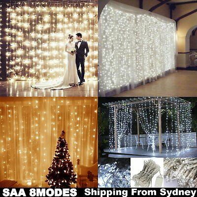 300/600 Led Curtain Fairy Lights Wedding Indoor Outdoor Christmas Garden Party A