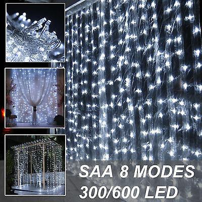 300/600 Led Curtain Fairy Lights Bright white Outdoor Wedding Christmas Party DE