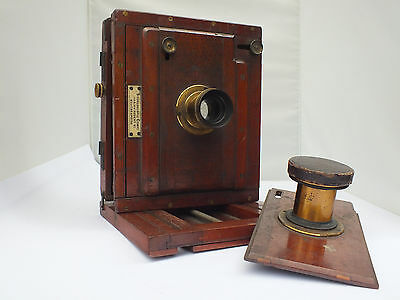 Wood and Brass antique British field camera with 2 lenses & aperture plates