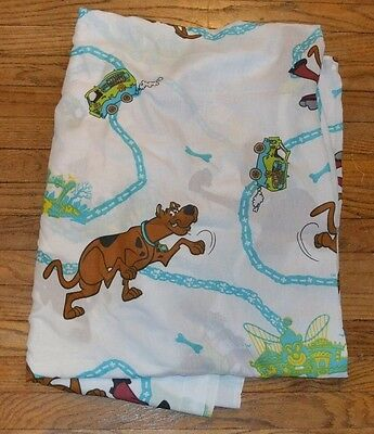 Scooby Doo Twin Single Flat Bed Sheet 1999 Mystery Machine Fabric Craft Material
