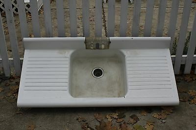 Vintage Antique Double Washboard Cast Iron Sink
