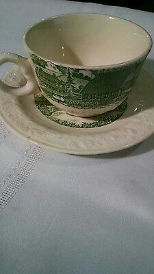 Taylor Smith Taylor Pastoral green and white cup and saucer. Vintage.