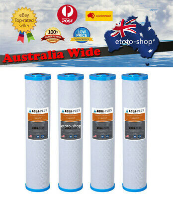 "4 X Big Blue Carbon Replacement Water Filters (0.5 Micron) 4.5"" x 20"" Cartridges"
