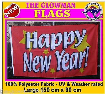 HAPPY NEW YEAR flag HNY flag red festive holiday flag                         M
