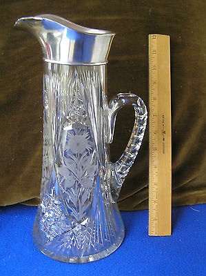 Large Sterling silver and American Brilliant Cut Glass pitcher Gorham 1917